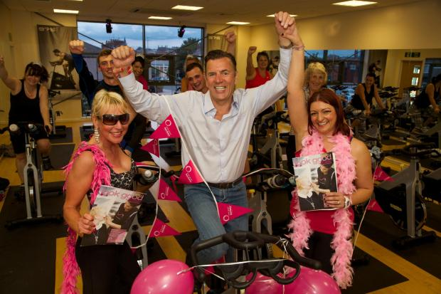 Duncan Bannatyne takes part in a Look Good Feel Better event at Darlington Flanked by Left, member Suzy Bradley and Fiona Dalton acting Gen Manager