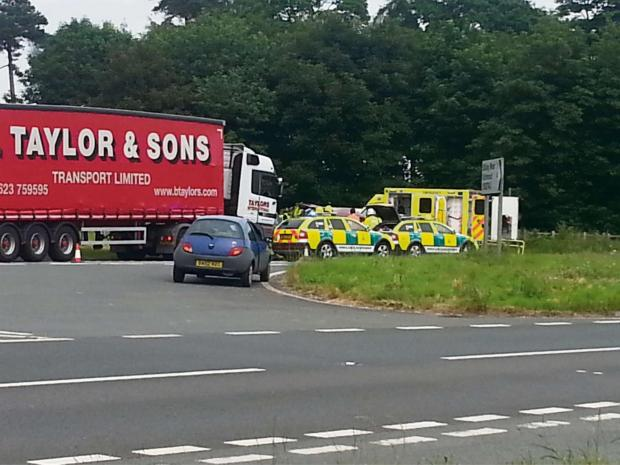 Darlington and Stockton Times: A66 SMASH: Ambulance, fire and police crews were on the scene after a car and HGV collided