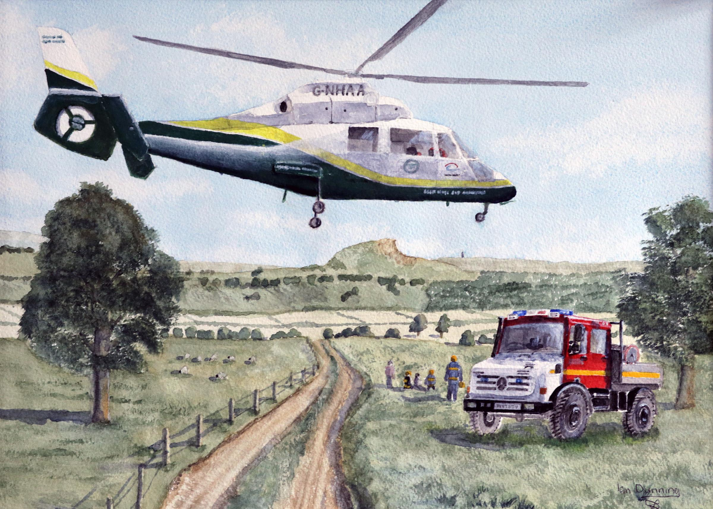 Former fireman donates painting to raise funds for air ambulance