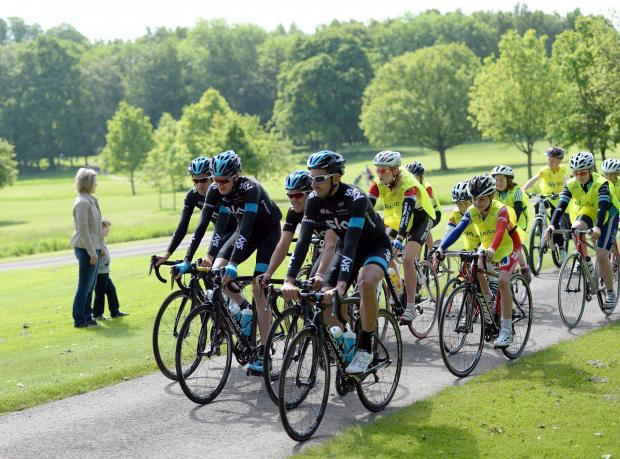 CHECKING OUT: Team Sky checks out the route
