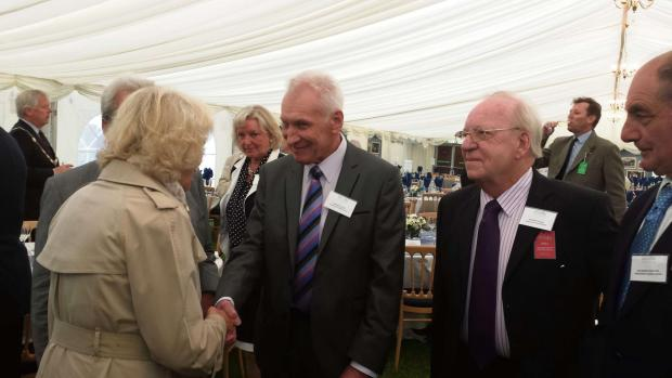 LONG SERVICE: Camilla, Duchess of Cornwall, congratulates Nigel Pooley