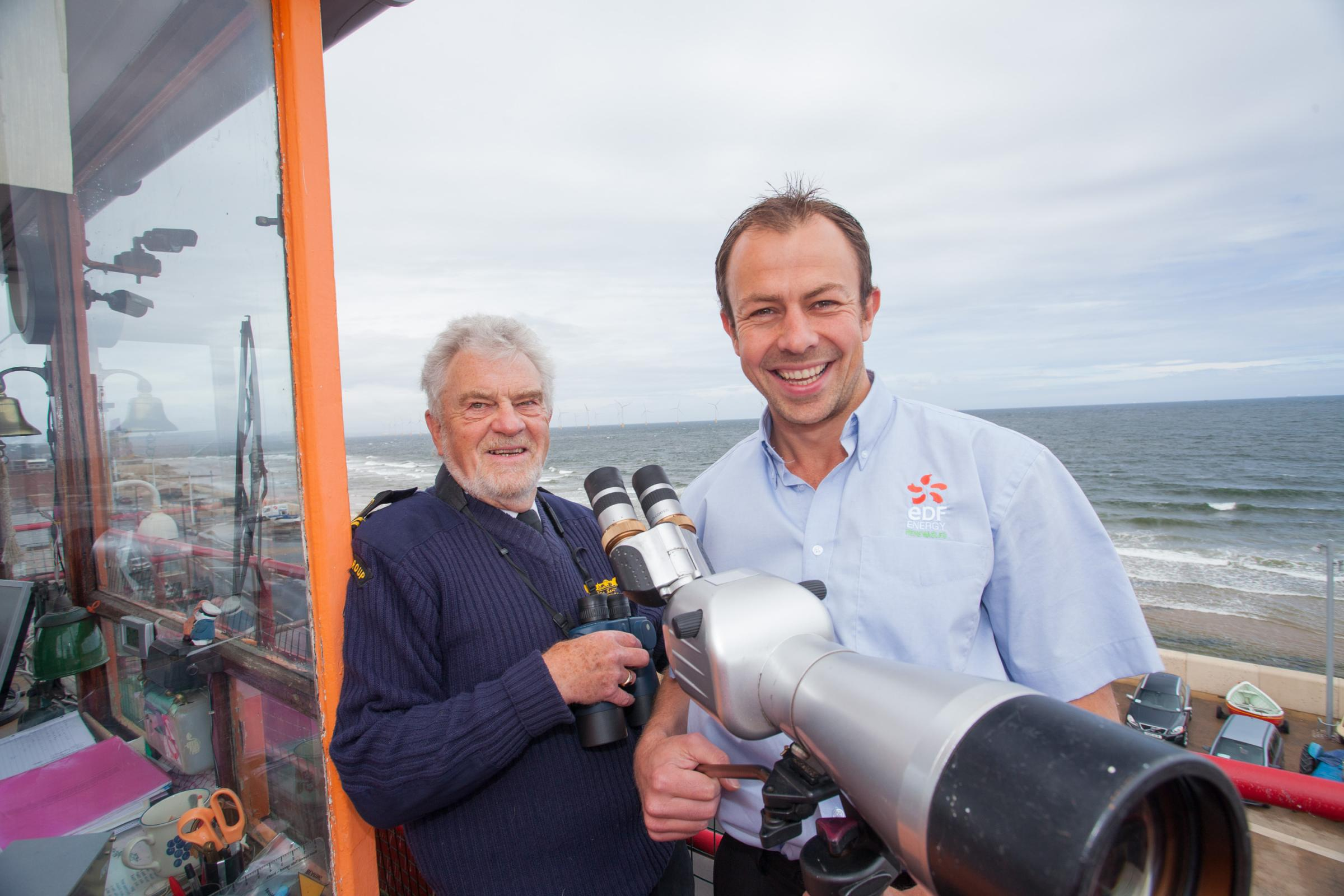 WATCHTOWER FUNDING: Trevor Smith (left) of Coastwatch Redcar with James Wilson of EDF Energy Renewables