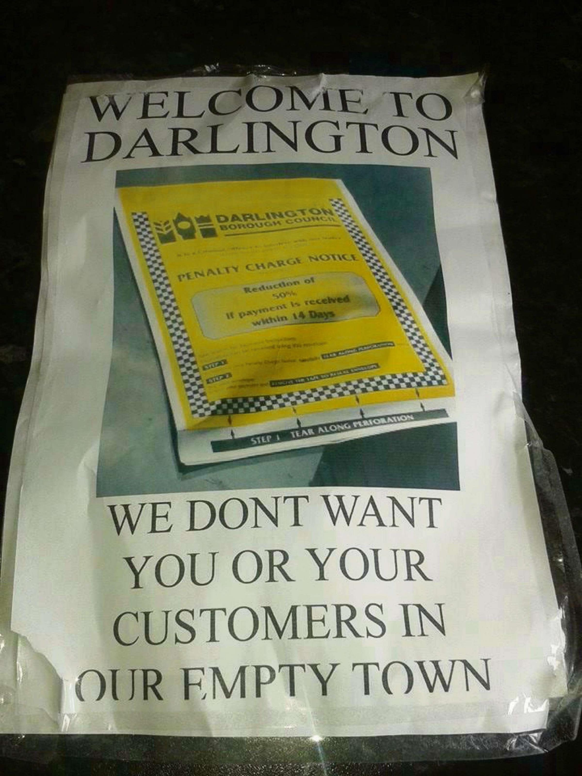 """Welcome to Darlington - we don't want you or your customers in our empty town"" - anonymous fly-poster targets North-East town"