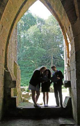 ABBEY PROJECT: Caitlin Johnson, Farnaaz Ghazaani and Ryan Johnson are inspired by the ruins of Fountains Abbey .