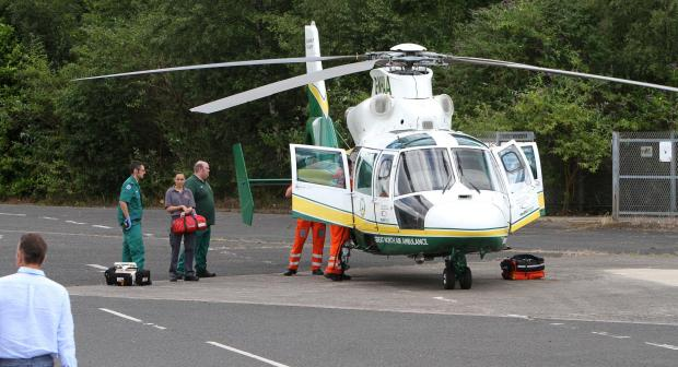 GYM EMERGENCY: Great North Air Ambulance crews at Bannatyne's gym, in Darlington, on Monday