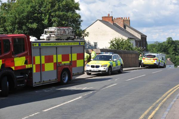 Emergency services at the scene of the fatal collision near Darlington