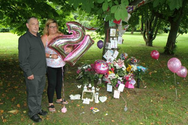 Gary and Carol Muir at the site where Codie died. Picture: RICHARD DOUGHTY