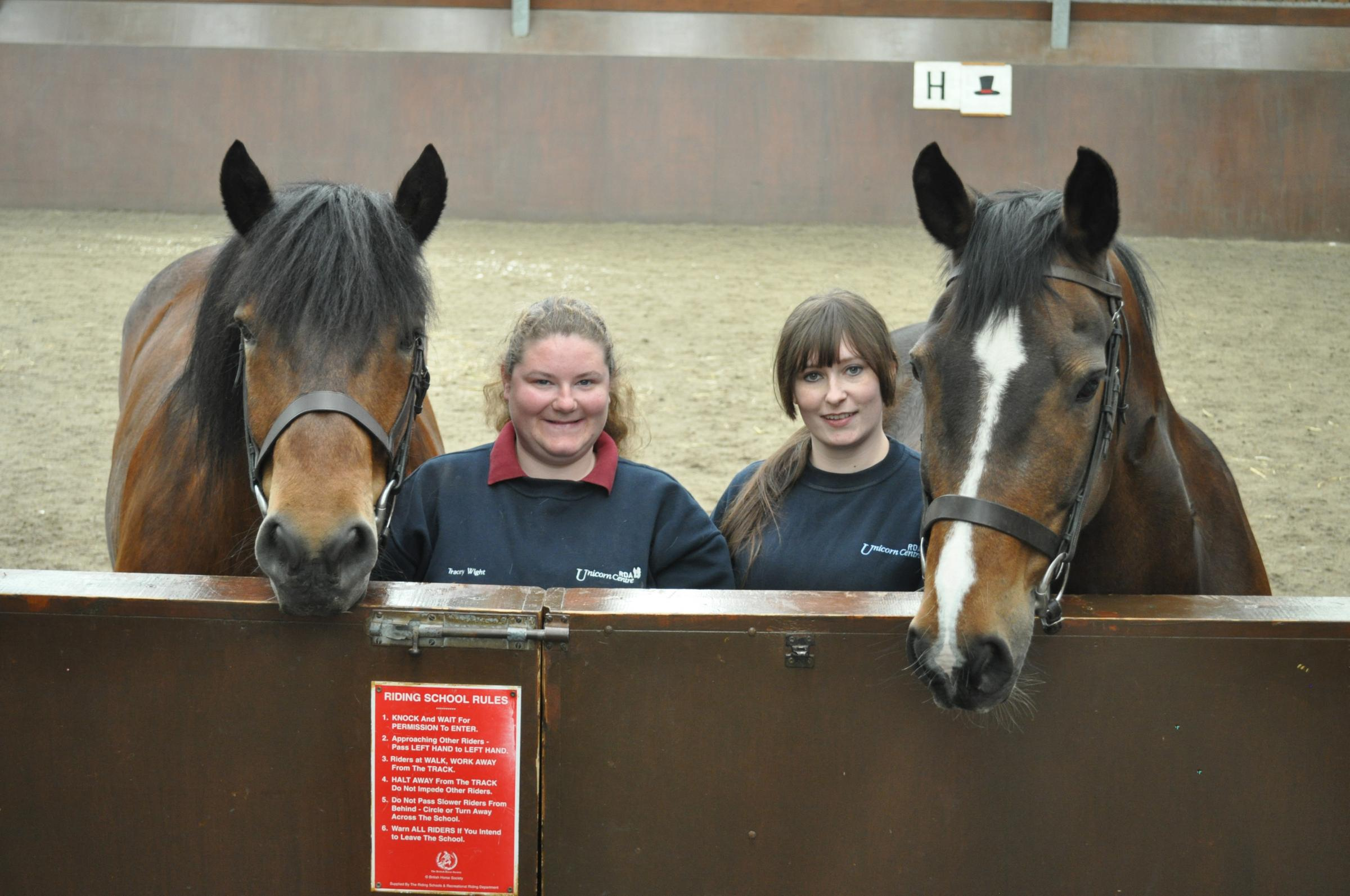 The Riding for the Disabled Association's Unicorn Centre, based at Hemlington near Middlesbrough which is recruiting new volunteers, has employed two new members of staff from its own Diploma students. (From left) Tracey Wight, 27, (with Angus) and
