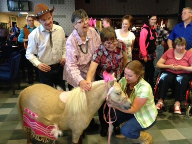 WILD WEST: Guests get up close and personal with Blondie, the miniature horse