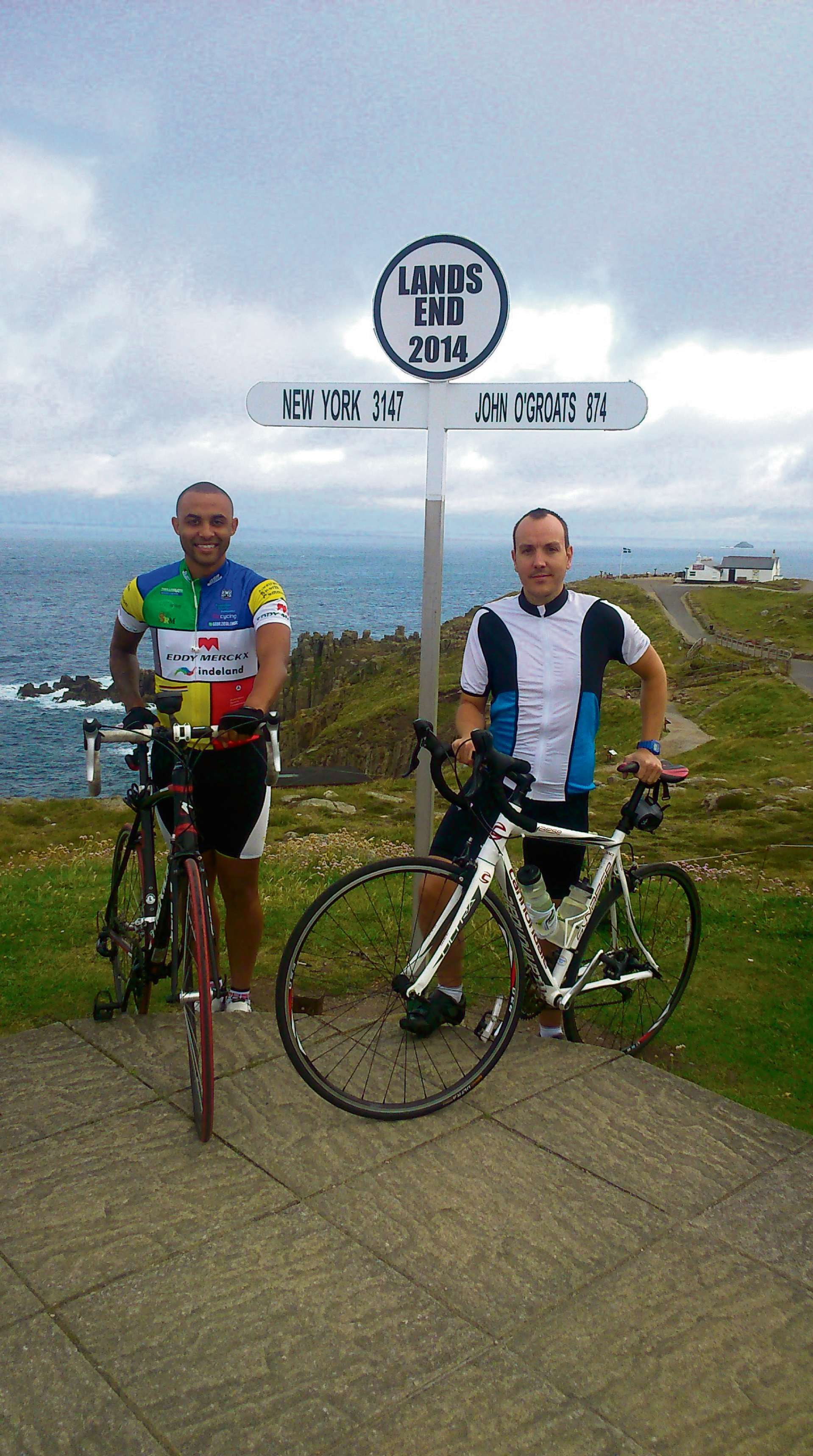 BIKE RIDE: Rob Wykes, right, with Joe Obi and Land's End