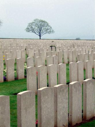 SOMBRE SCENE: Caterpillar Valley Cemetery, in the Somme, France