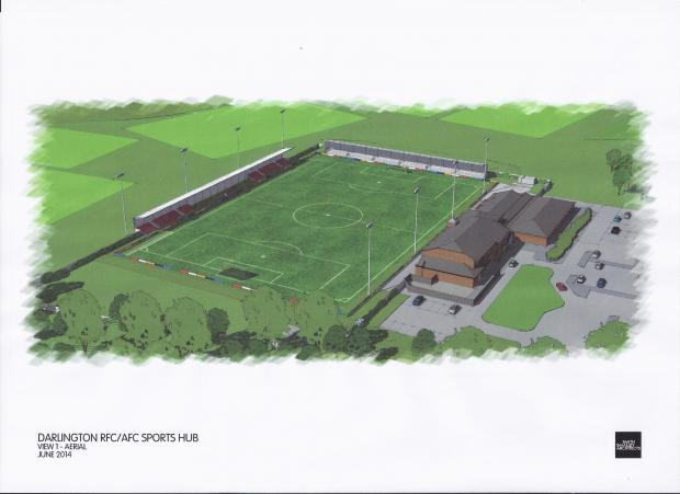Darlington and Stockton Times: SPORTING HUB: Artist's impression of the redeveloped Blackwell Meadows ground where Darlington RUFC and Darlington FC will share facilities.