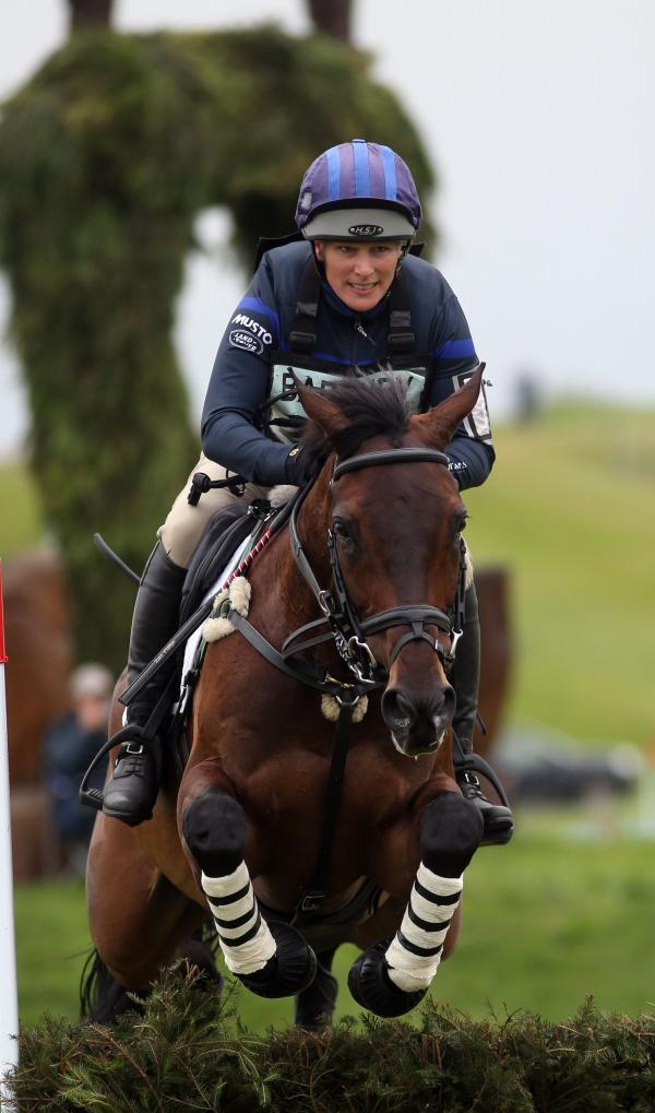 Zara Phillips competes on the Cross Country course on Mr Murt during the Barbury International Horse Trials