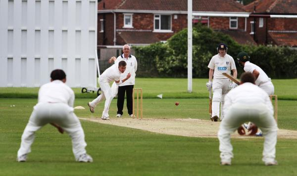 STEAMING IN: Great Ayton opening bowler Joe Marsay sends down a delivery to a Middlesbrough batsman last weekend