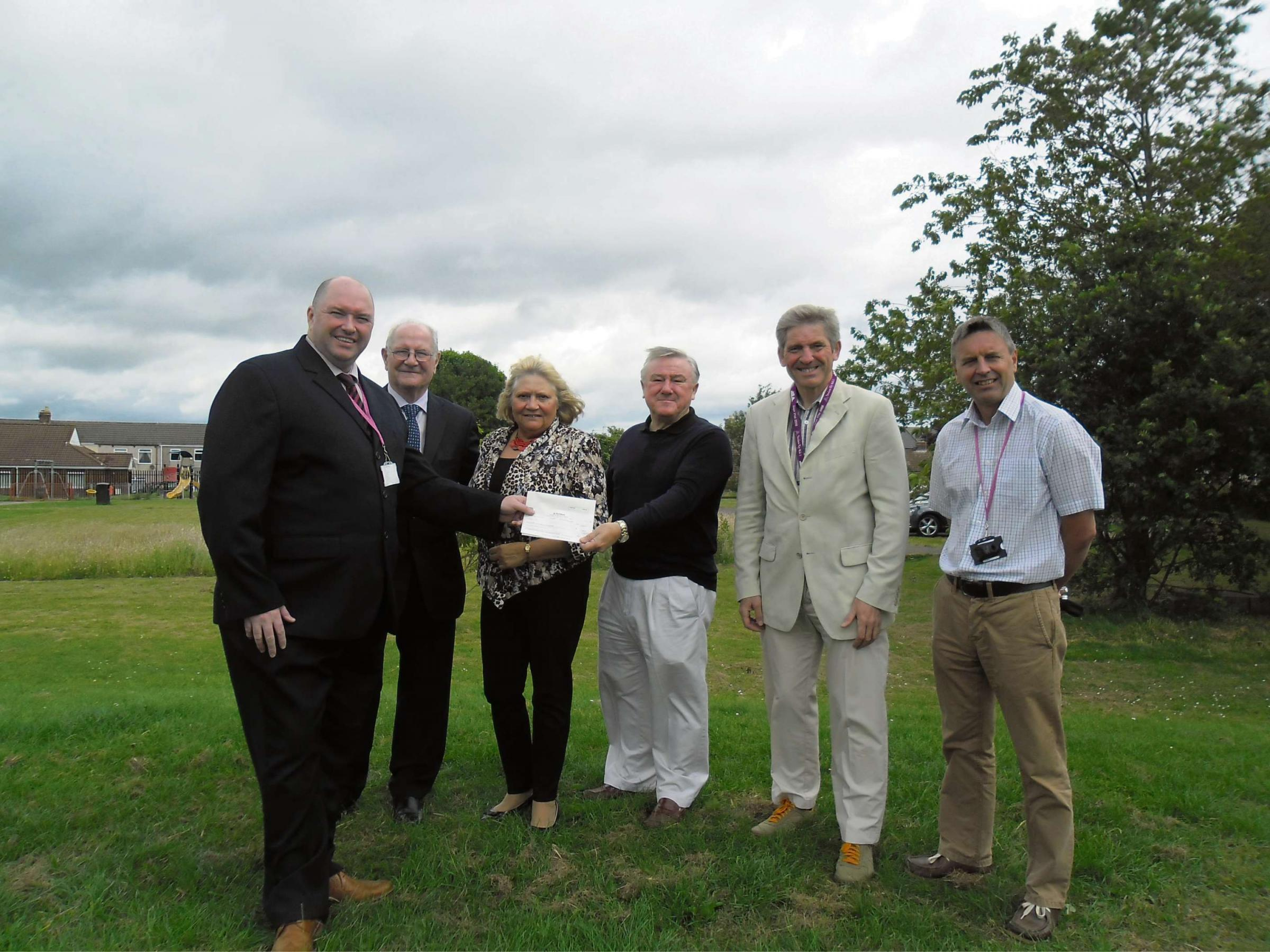 GYM GRANT:  (L to R) Malcolm Gray, community investment advisor for livin,Councillor Morris Nicholls, Councillor Lucy Hovvels, Dr Alan Bell, treasurer of Trimdon Colliery Community Association, Councillor Peter Brookes and Paul Todd, community coordinator