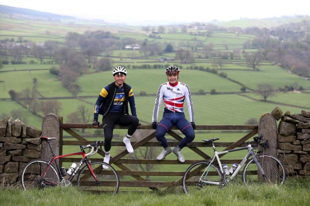 GEARING UP: Former Olympic triple jump champion Jonathan Edwards (left) and pro cyclist Steven Burke (right) promote the Etape Marie Curie Pennines cycle event near Eggleston in Teesdale