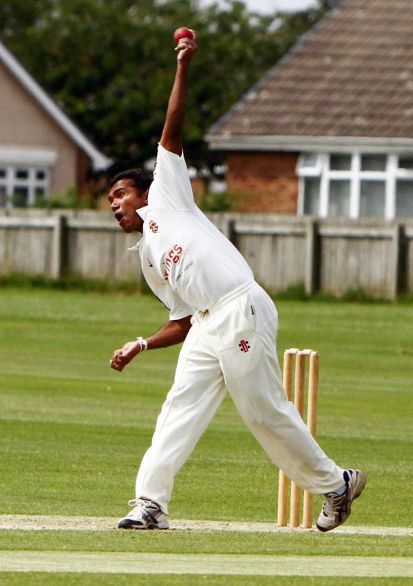 STEAMING IN: Shanuka Dissanayake bowling for Richmondshire against Seaton Carew in the Darlington Building Society NYSD ECB Premier League game last weekend