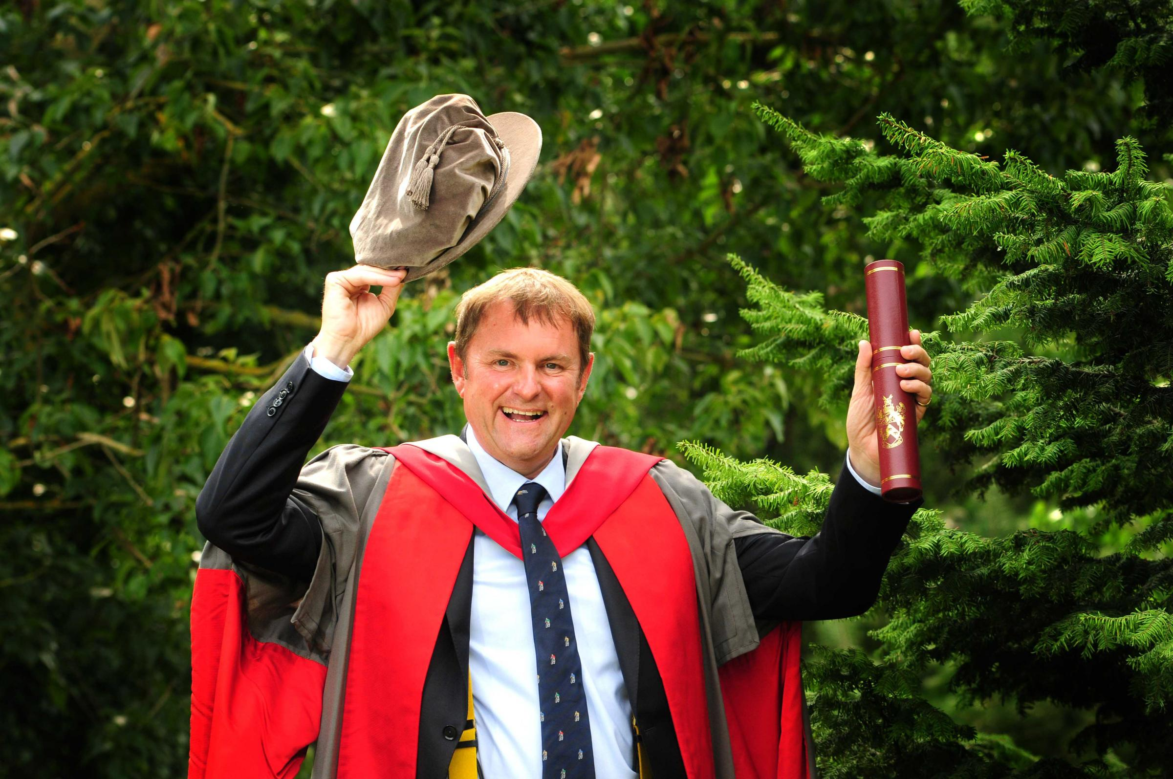 TOP HONOURS: Gary Verity pictured at The University of York after collecting his honorary degree. Pictur