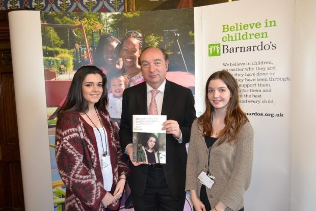 DIANA AWARD: Abbie Rodgers(left) and Caitlin Boys(right) with Norman Baker MP, after the girls had given evidence to the parliamentary inquiry