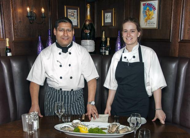 Hardwick Hall's head chef Mark Bennett with apprentice, Chelsea Layfield