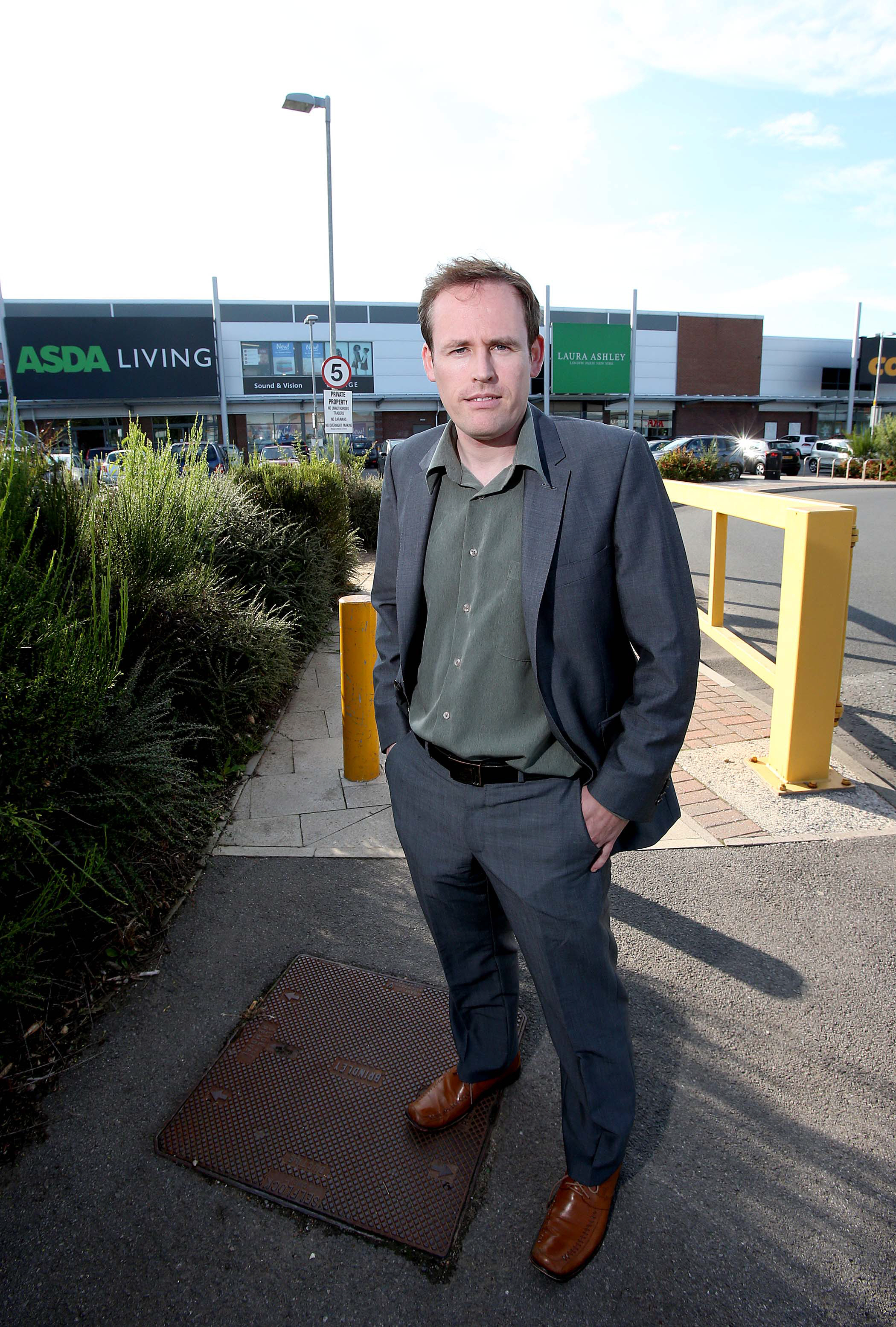 Councillor Mark Wilkes outside the Mercia Retail Park in Durham. (8548193)