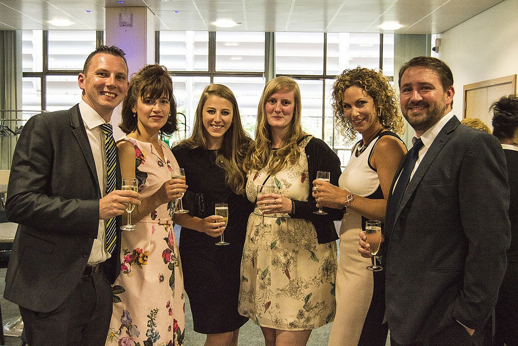 AWARDS NIGHT: Rachel was supported by colleagues from the university's Enterprise team, from left, Jon Powell, Amanda Brooks, Lucy Sanderson, Rachel Everett, Sarah Marshall and Simon Harrison