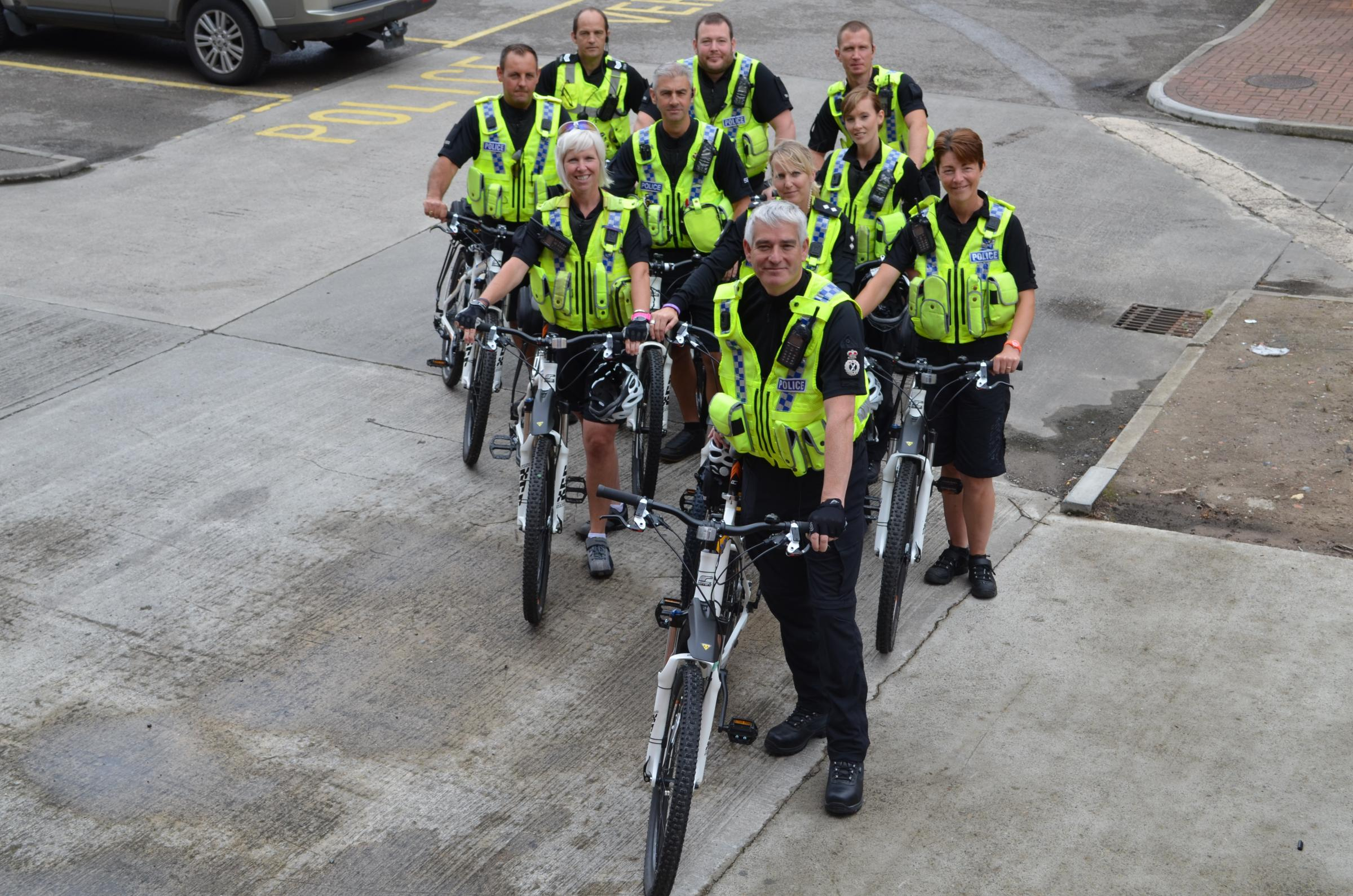 SADDLING UP: Chief Constable Dave Jones with the Cycle Response Team.