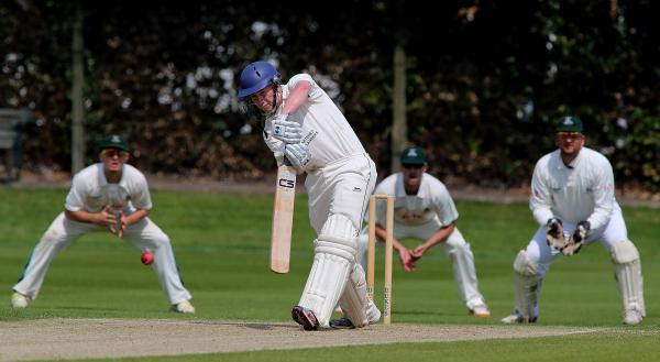 GOOD HIT: Chester-le-Street batsman George Harrison in action against Stockton CC