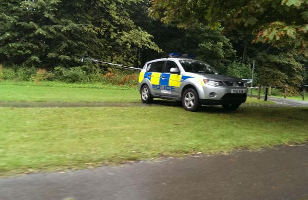 Police at the scene of an alleged sex assault in Catterick Garrison