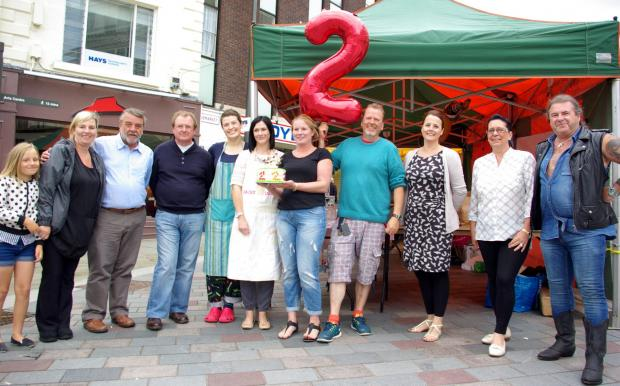 HAPPY BIRTHDAY: Traders and supporters of the Darlington Sunday People's Market gather to mark its second birthday  Picture: Hugh Mortimer