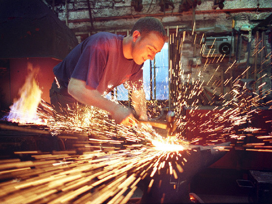 BLACKSMITH: Steven Beane as an apprentice working at the Londonderry Forge in 2000