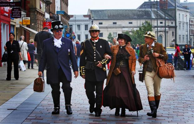 STEAMPUNK: Victorian Steampunk Connection group in Darlington today. Picture:SARAH CALDECOTT (8871777)
