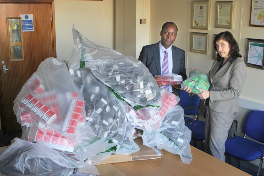 ILLEGAL TOBACCO: Edward Kunonga Director of Public Health for NHS Middlesbrough and Middlesbrough Council and Sinead Upton Principle Trading Standards Officer for Middlesbrough Council pictured with a haul of tobacco which has been seized in the town two