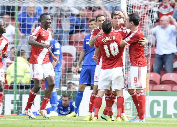 HAPPY SCENES: Middlesbrough's players celebrate Daniel Ayala's opener against Birmingham City