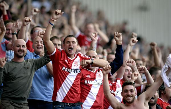 HAPPY DAYS: Middlesbrough fans celebrate their side's 2-0 win over Birmingham City