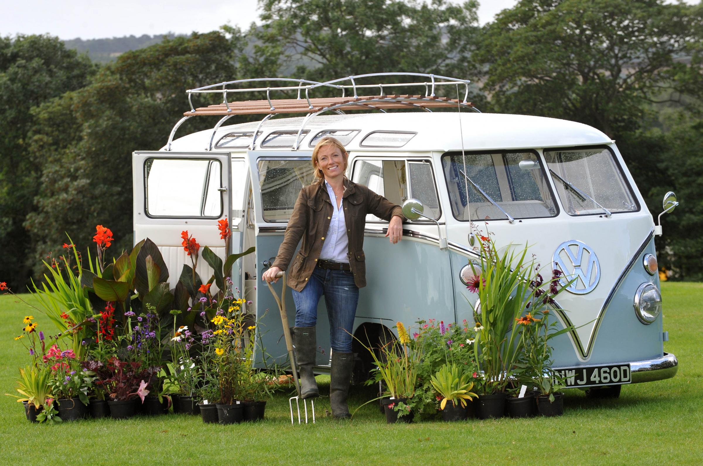 FLOWER POWER: Susanne Guthrie with her campervan Roxy at the Great Yorkshire Showground.
