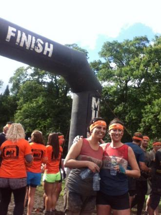 TOUGH MUDDER: Hannah Chiarella and Lisa Shaw at the obstacle course finish line