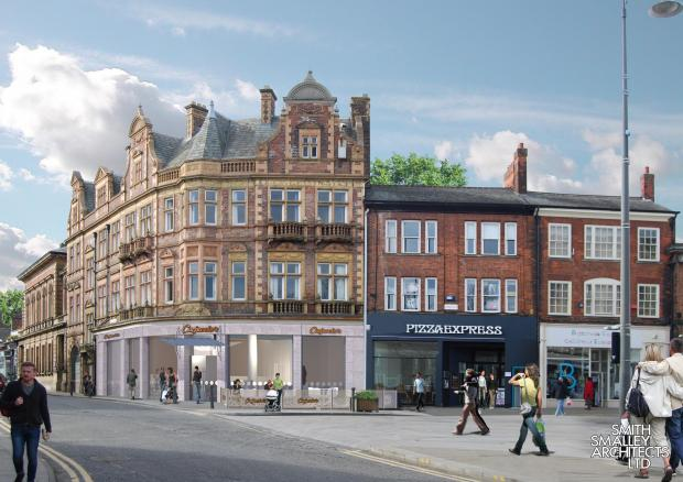 NEW LIFE: An artist's impression of what the former Lloyds Bank building on Skinnergate, Darlington, could look like after being converted into a restaurant