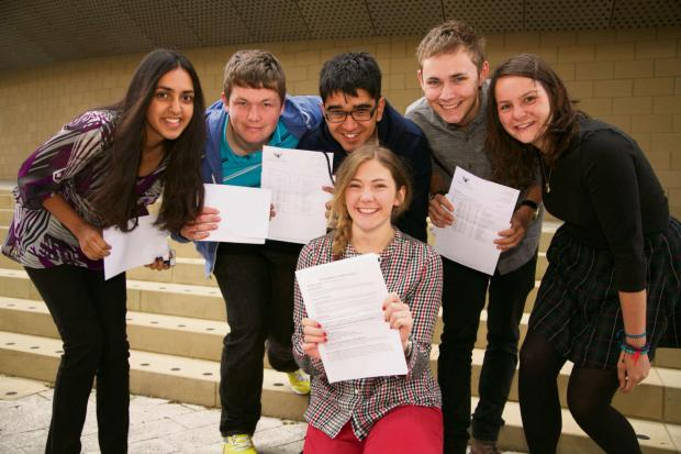 Yarm School  students pictured after they received their A-level results (L-to-R):  Nikhita Vasani, Matthew Wales, Sagar Vase, Matthew Measor, Helen Elston and Molly Bean (in front)
