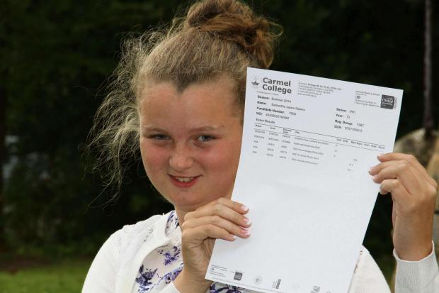 STAR STUDENT: Courageous Carmel College student Samantha Adams with her results