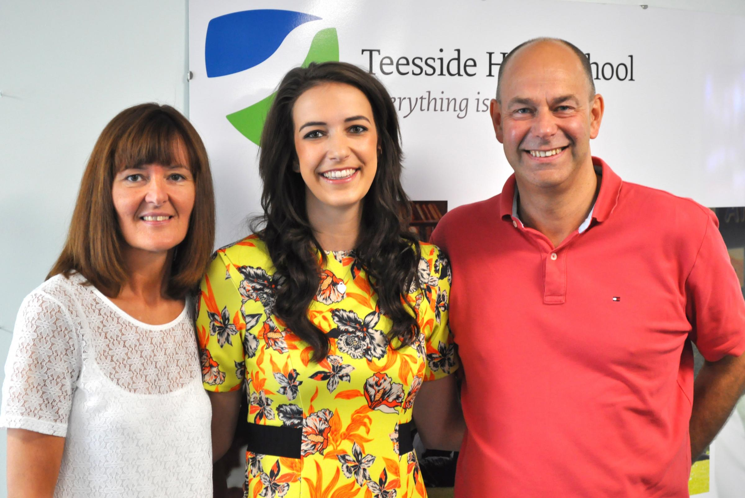 Teesside High School student Liz Edwards flanked by her parents, Alison and John.