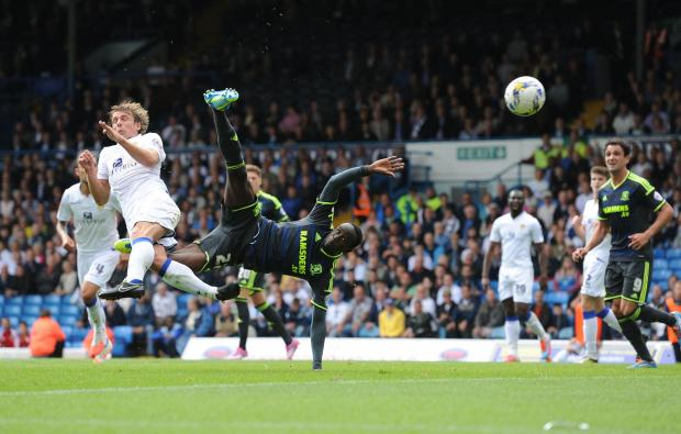 Middlesbrough's Albert Adomah see his acrobatic attempt ruled out during the Sky Bet Championship match at Elland Road, Leeds. PRESS ASSOCIATION Photo. Picture date: Saturday August 16, 2014. See PA story SOCCER Leeds. Photo credit should read: Anna G