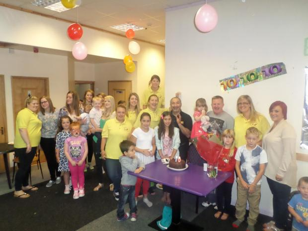 Staff and children at the Big Kids Little Kids nursery in Darlington celebrate its tenth birthday