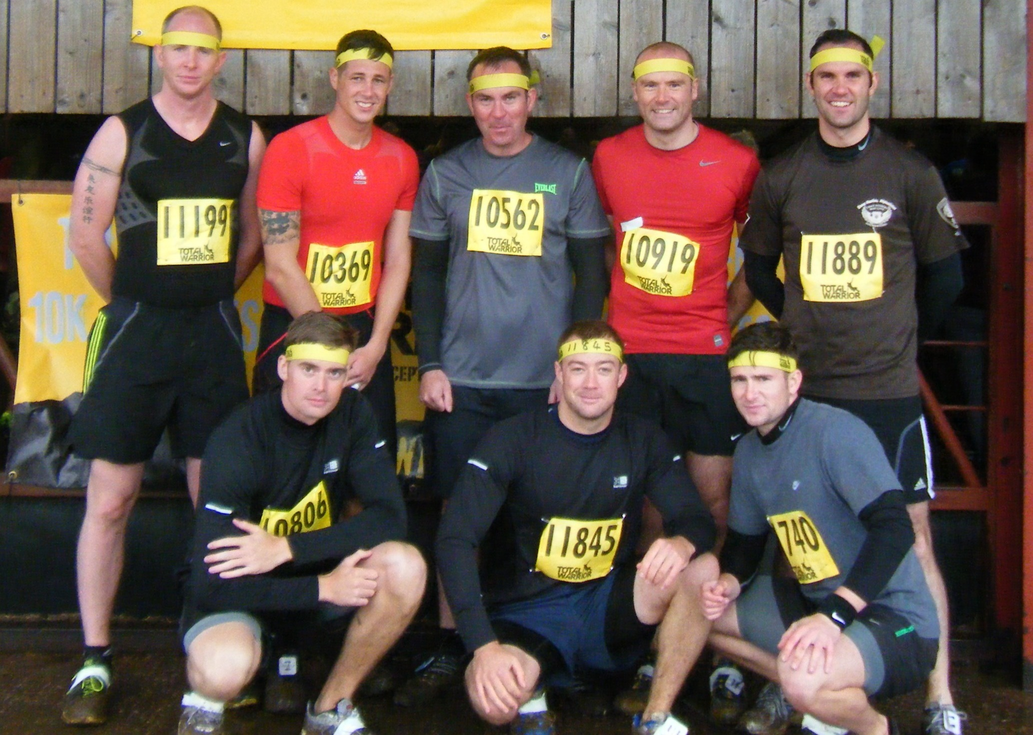 TOTAL WARRIOR: The team are all smiles efore the gruelling event.