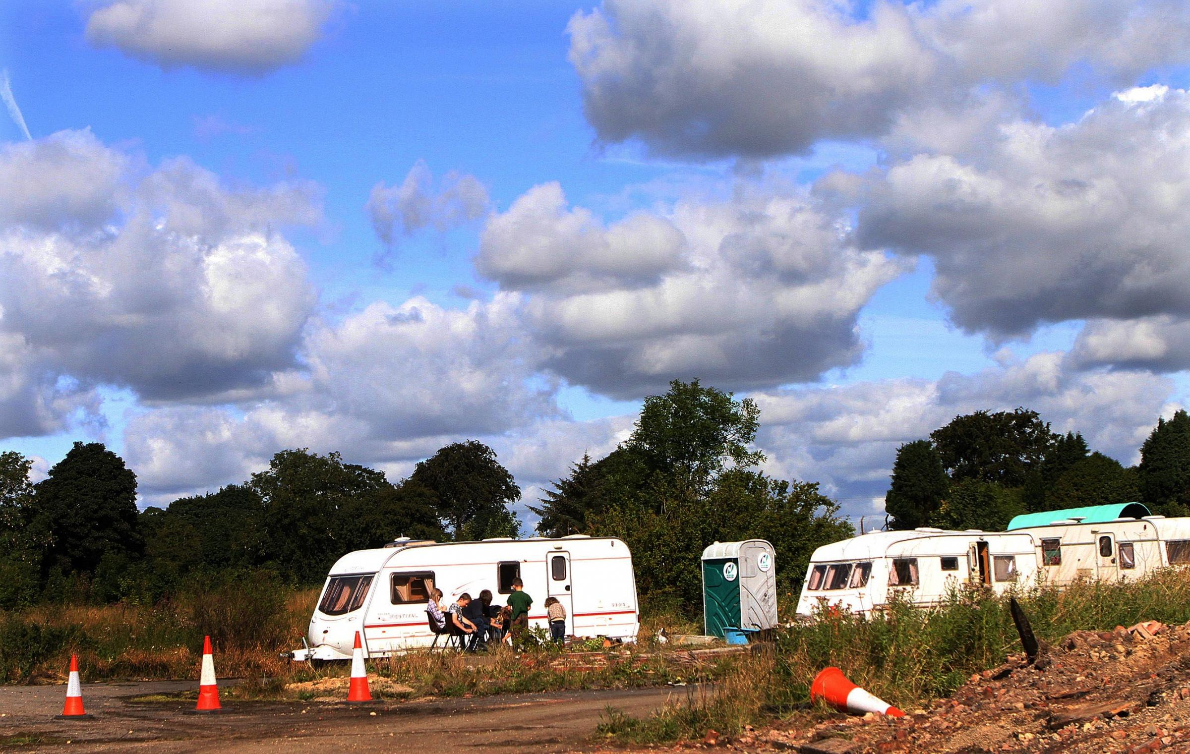 HORSE FAIR:Travellers on a site on the outskirts of Sedgefield, as