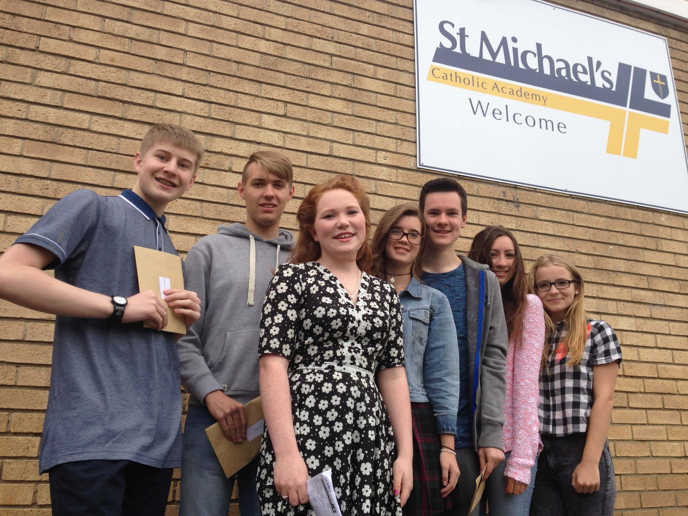 The St Michael's Academy  A-Team, L-R, Daniel Millington, Sean Douthwaite, Beth Hall, Lucy Jones, Darren Stait, Bethany Kelly and Hannah Bradley, who between them achieved 72 A*-A GCSE grades