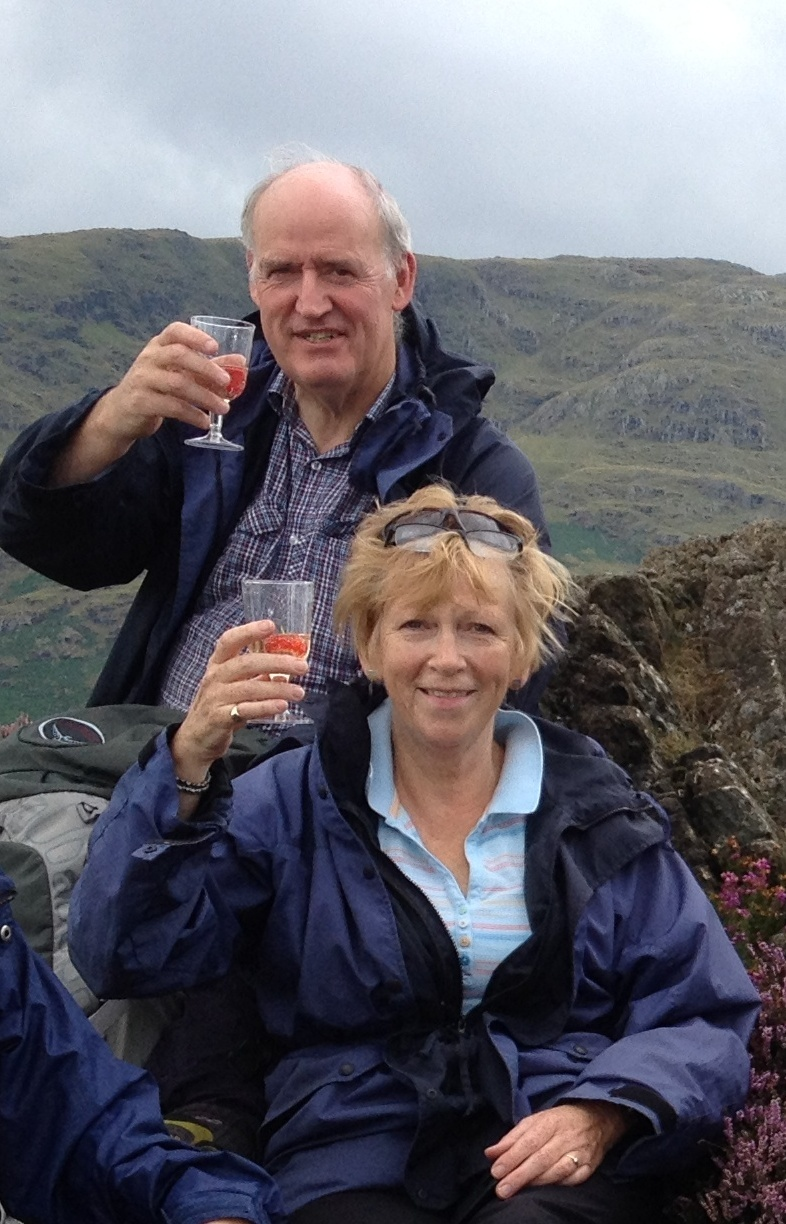 HILL CLIMBERS: Peter and Philippa Sinclair celebrate at the top of Holme Fell