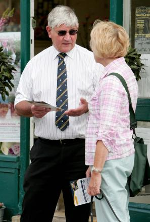 CRIME COMMISSIONER: Durham's Police and Crime Commissioner Ron Hogg talks to shoppers.