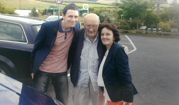 BACK TOGETHER: Brother and sister Ian and Susan Hughes with their father Granville who they have found after 46 years.