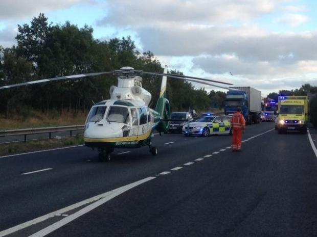 ON SCENE: The Great North Air Ambulance attends the scene of the accident. Pic: Cleveland Police RPU